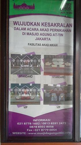Informasi yang bisa dihubungi untuk Akad Nikah dan Resepsi di Mesjid Agung At-Tin TMII Jakarta Timur  (Rabu 17 Agustus 2016)