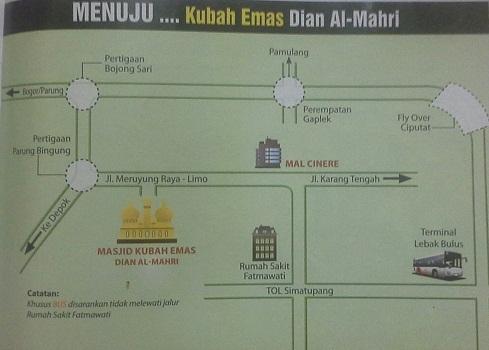 Peta Menuju Masjid Kubah Emas Depok  (Jumat 19 Agustus 2016)