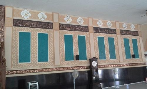 Dinding depan kanan ruang utama shalat Masjid Agung Babussalam Sabang Pulau Weh (Kamis 29 Desember 2016)