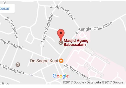 Peta Lokasi  Masjid Agung Babussalam di Jl.Tengku Cik Di Tiro (Sumber: google dalam http://petalokasi.org/ )