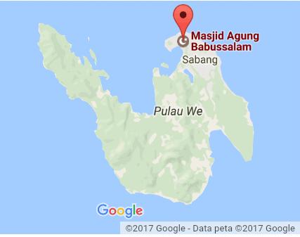 Peta Lokasi  Masjid Agung Babussalam di Pulau Weh (Sumber: google dalam http://petalokasi.org/ )