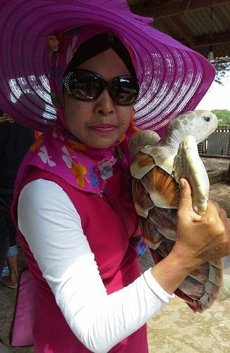 Dokumentasi Foto Bersama Penyu di Pulau Penyu Tanjung Benoa Bali