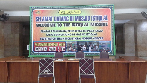 Tempat Pelayanan/Pendaftaran Tamu Masjid Istiqlal Jakarta  (Kamis18 Agustus 2016)