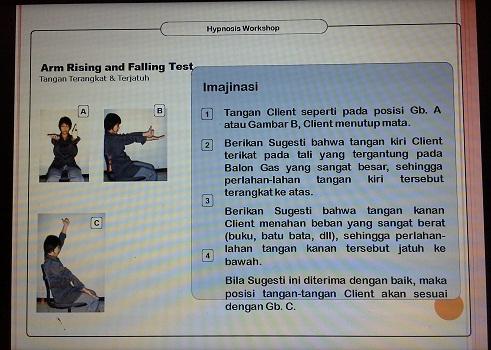 Suggestivity Test:  Arm Rising and Falling Test (Pelatihan TTW SMK Cikini Jakarta Utara, Sabtu 20 Agustus 2016)